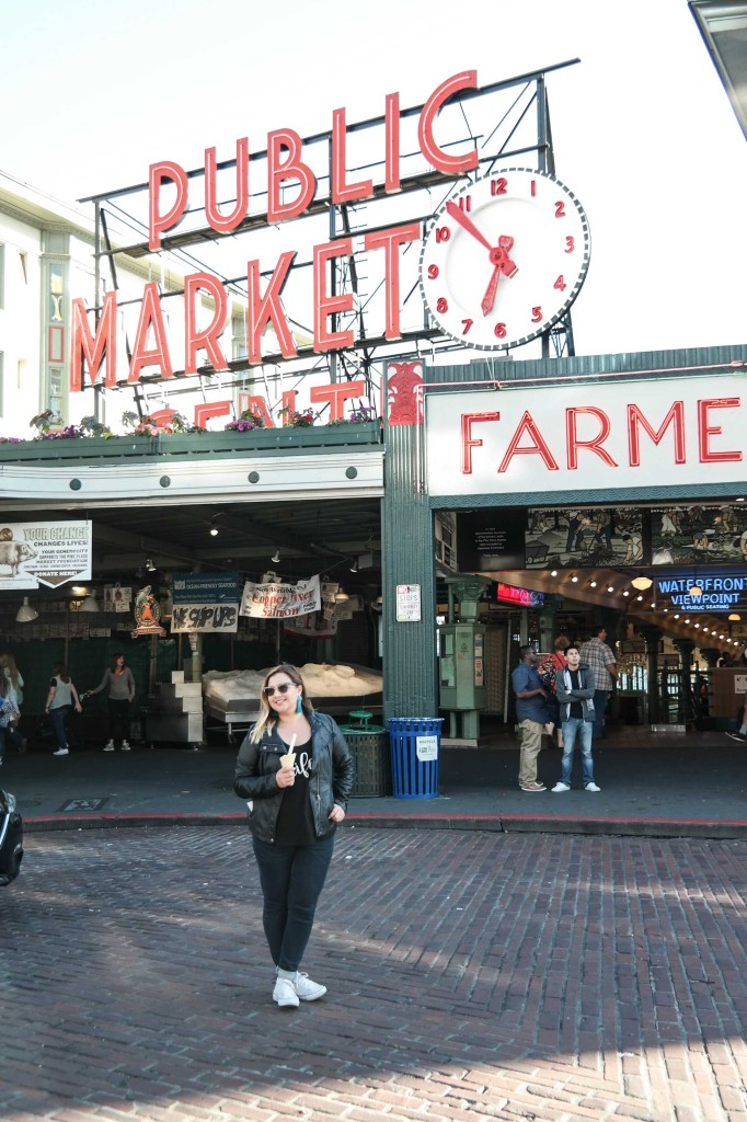 The famous Pike Place Market behind me full of food vendorsw and stores