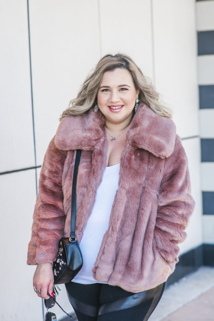 Target Pink Faux Fur Coat 005