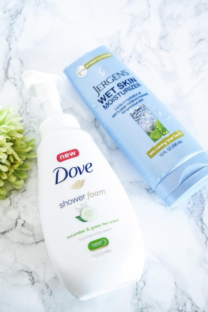Dove-Shower-Foam-and-Jergens-Wet-Skin-Moistruizer-Lipstick-and-Brunch