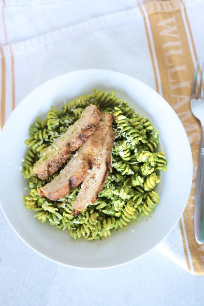 chickpea pasta with pesto